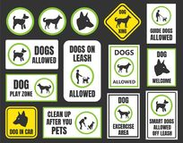 Dogs friendly sign, pet allowed set, dog in car and xing  Stock Image