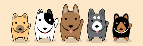 Dogs gang. Puppy standing, Dogs gangs, vector, cartoon cute, graphic, illustration, for pet shop poster banner Stock Photo