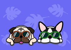 Dogs with glasses background. Two funny dogs with sunglasses on blue background, background for summer time royalty free illustration