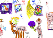 Dogs go visiting. child drawing Stock Images
