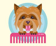 Dogs grooming. Haircut, combing and grooming pets. Icon, logo for the salon. Cheerful puppy with a comb. Flat Vector Illustration royalty free illustration