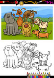 Dogs group cartoon coloring book Royalty Free Stock Photo