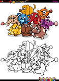 Dogs group coloring book Stock Images