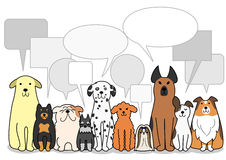 Dogs group with speech bubbles Royalty Free Stock Images