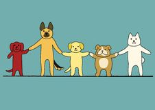 5 dogs hand in hand. Cute 5 dogs hand in hand royalty free illustration