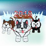 Dogs in the harness carry a sign 2018 over the snow. Merry Christmas vector illustration. Happy new year Stock Image