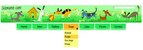 Dogs header Stock Photo