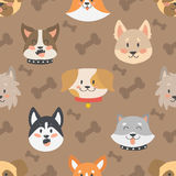 Dogs heads seamless pattern background vector set. Royalty Free Stock Photo