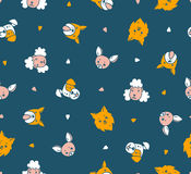 Dogs heads. Vector seamless pattern with dogs. Funny design for kids. Stock Photos