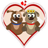 Dogs in the heart . Royalty Free Stock Photography