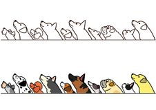 Dogs looking up profile border set. Various dogs looking up profile in a row, with and without color stock illustration