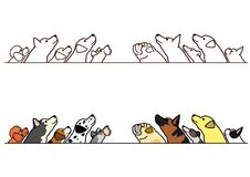 Dogs looking up profile border set. Various dogs looking up profile in a row, with and without color royalty free illustration
