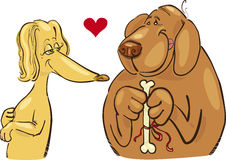 Dogs in love. Cartoon illustration of dogs in love Stock Photography