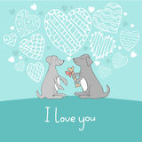 Dogs in love cute doodle vector illustration Royalty Free Stock Photos