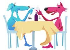 Dogs make dinner. Two dogs eating for dinner Stock Image