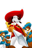 Dogs musketry character cartoon style  illustration white Royalty Free Stock Photo