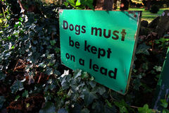 Dogs must be kept on a lead sign. Royalty Free Stock Photography