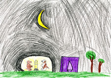 Dogs at night. child's drawing. Stock Photography