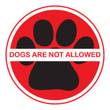Dogs are not allowed. Illustration sign, isollated on white background Stock Images