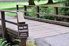 Dogs not permitted sign. In golden ears lake Royalty Free Stock Image