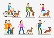 Dogs and people icons set. Pets, animals vector illustration Stock Photography