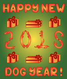 Dogs and Presents in new year's card Royalty Free Stock Photo
