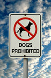 Dogs Prohibited. Warning sign saying dogs not allowed Royalty Free Stock Images