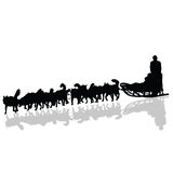 Dogs pulling a sled in black vector silhouette Royalty Free Stock Images