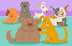 Dogs or puppies cartoon characters group Royalty Free Stock Images