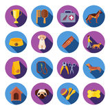 Dogs  round flat icons set Royalty Free Stock Photos