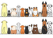 Dogs in a row with copy space,front and back Royalty Free Stock Photo