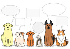 Dogs in a row with speech bubbles Stock Photos