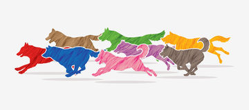 8 Dogs running graphic. Vector Royalty Free Stock Photography
