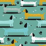 Happy dogs, seamless pattern. Dachshunds stock illustration