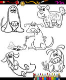 Dogs set cartoon coloring book Royalty Free Stock Images