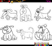 Dogs set cartoon coloring page Royalty Free Stock Photo