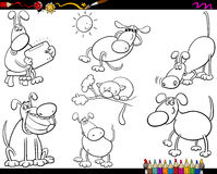 Dogs set cartoon coloring page Stock Photos