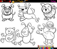 Dogs set cartoon coloring page Stock Photography