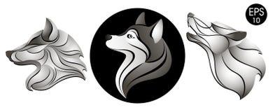 Free Dogs Set. Dog Head Logo. New Year`s Symbol. Stock Vector Illustration Royalty Free Stock Image - 100255656