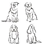 Dogs set of silhouettes. In simple lines Stock Photos