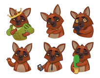 6 dogs. Set of vector emotional animals. stylization. Stickers f Royalty Free Stock Photography