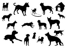 Dogs silhouettes. Animals black vector Stock Photo