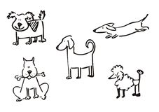 Dogs simple clipart. Hand drawning funny dogs vector Royalty Free Stock Photography