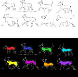 Dogs, sketch2. Outlines of the dogs on walk in miscellaneous position royalty free illustration