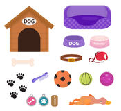 Dogs stuff icon set with accessories for pets, flat style,  on white background. Puppy toy. Doghouse, collar. Food. Pet shop concept. Vector illustration, clip Stock Photos