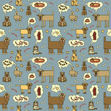 Dogs Thinking Pattern_Blue. Seamless pattern of dogs thinking about food and other things. Typestyle is my own design Royalty Free Stock Image