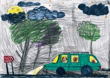 Dogs travel on auto at night. childs drawing. Stock Photos