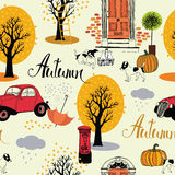 Dogs, vintage cars, pumpkins and autumn trees. Seamless backgrou Stock Photography