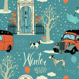 Dogs, vintage cars, snow and winter trees. Seamles stock illustration