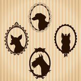 Dogs vintage silhouettes Stock Photos